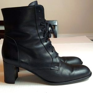 J. Crew Black Leather Lace-Up Heeled Booties Sz 11